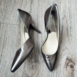 Michael Kors Silver Metallic Leather Heels Size 7M